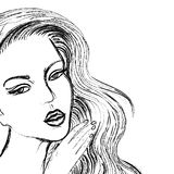 Sketch of beautiful women face, like drawn by coal Stock Image