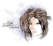 Sketch. Beauty girl face Stock Photo