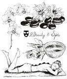 Sketch of Beauty and healthcare set, hot stones massage Royalty Free Stock Photography