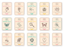 Sketch beauty objects and text. Vintage design for card or invitation. Vector templates set Royalty Free Stock Photos