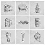 Sketch beer icons Stock Photo
