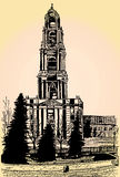 Sketch belfry. Graphic sketch of architectural object. Sketch bell Stock Photography