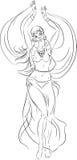 Sketch of bellydancer Royalty Free Stock Images