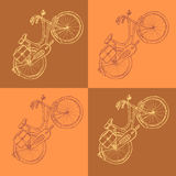 Sketch bicycle, vector vintage background Stock Images