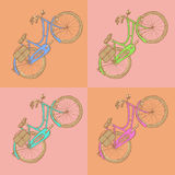 Sketch bicycle, vector vintage background Royalty Free Stock Photo