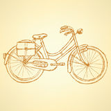 Sketch bicycle, vector vintage background Royalty Free Stock Photos