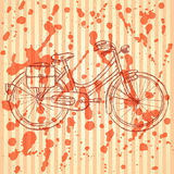 Sketch bicycle, vector vintage background Royalty Free Stock Images