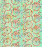 Sketch bicycle, vector vintage seamless pattern Stock Photography