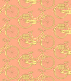 Sketch bicycle, vector vintage seamless pattern Stock Photos