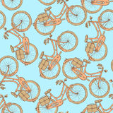 Sketch bicycle, vector vintage seamless pattern Royalty Free Stock Photo