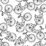 Sketch bicycle,  vintage seamless pattern Royalty Free Stock Photos