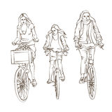Sketch of Bicycling Family Stock Photo