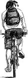 Sketch of a bicyclist Royalty Free Stock Photography