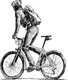Sketch of bicyclist Stock Image