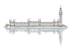 Sketch, Big Ben and Houses of Parliament Royalty Free Stock Images
