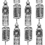 Sketch Big Ben and phone cabin,   seamless pattern Royalty Free Stock Image