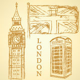 Sketch Big Ben, UK flag and phone cabin, vector  background Royalty Free Stock Image