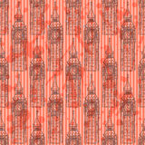Sketch Big Ben, vector  seamless pattern Stock Photography