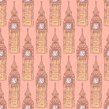Sketch Big Ben, vector  seamless pattern Stock Images