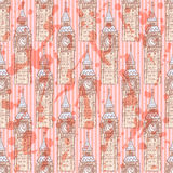 Sketch Big Ben, vector  seamless pattern Royalty Free Stock Photos