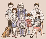 Sketch of a big happy family Royalty Free Stock Photography