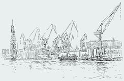 Sketch of a big seaport. Vector image of a fragment of the seaport of the big European city Royalty Free Stock Photo