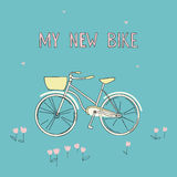 Sketch of bike with basket on bright background. Stock Photo