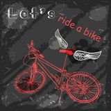 Sketch bike with wings on a grungy background. Royalty Free Stock Images