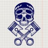 Sketch of biker rider skull Stock Photography