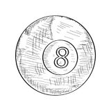 Sketch of a billiard ball. Isolated sketch of a billiard ball, Vector illustration Royalty Free Stock Photo