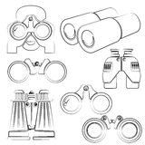 Sketch binocular icons Royalty Free Stock Photos