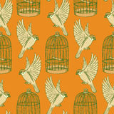 Sketch bird and cage seamless pattern Stock Photos