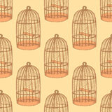 Sketch bird cage in vintage style Royalty Free Stock Image