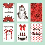 Sketch Birthday cards. In vintage style stock illustration