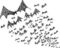 Sketch of black Halloween bats Royalty Free Stock Image