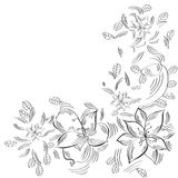 Sketch black and white with abstract flowers Stock Image