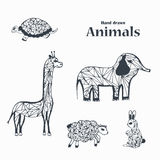 Sketch of Black and White Animals. Stock Photo