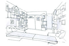Sketch in black and white of a room for kids Stock Photography