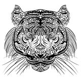 Sketch black and white tiger head Zen-tangle Stock Photography