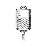 Sketch of blood bag for transfusion Royalty Free Stock Photo