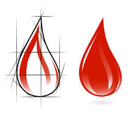 Sketch of blood drop Royalty Free Stock Photo