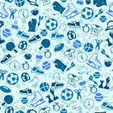 Sketch blue sport seamless vector pattern Royalty Free Stock Photography