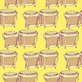Sketch bongos musical instrument in vintage style Stock Image