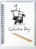 Sketch book. Columbus ship hand drawn on sketch book with pencil Stock Photography