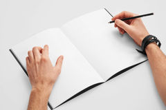 Sketch book mockup. Open Sketch book, hand drawn projects. Mockup Royalty Free Stock Photography