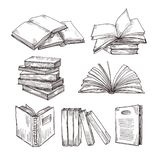 Sketch books. Ink drawing vintage open book and books pile. School education and library doodle vector symbols. Education book sketch, pile of literature royalty free illustration