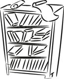 Sketch of bookshelf. With books and papers Stock Photo