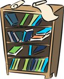 Sketch of bookshelf. With books and papers Royalty Free Stock Image