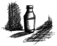 Sketch of a bottle in black and white isolated Royalty Free Stock Photos