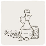 Sketch bottle of olive oil. Royalty Free Stock Photos